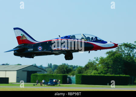 Royal Air Force RAF British Aerospace BAe Hawk T1 jet plane trainer in special paint scheme 85 years of 4 FTS and one million UK Hawk hours - Stock Image