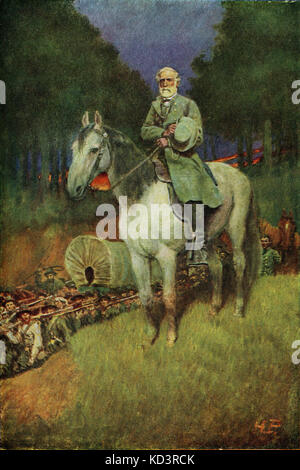General Lee on his horse Traveler. Robert Edward Lee (January 19, 1807 – October 12, 1870), American general who - Stock Image