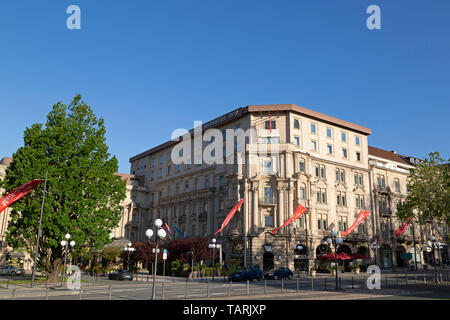 The Hotel Nassauer Hof in Wiesbaden, the state capital of Hesse, Germany. The property is a five-star hotel. - Stock Image