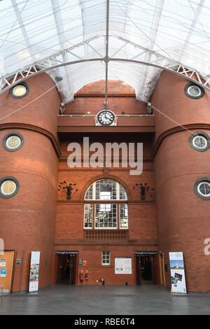 The Peoples Palace balcony clock inside the Winter Gardens glasshouse in Glasgow, Scotland, UK, Europe - Stock Image