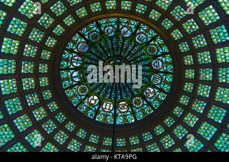 CHicago cultural centre glass dome with intricate mosaic glass patterns. - Stock Image