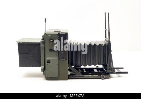 OD Green Korean War era Graflex KE-12 Pacemaker 4x5 Speed Graphic, OD Green Korean War era Graflex KE-12 Pacemaker 4x5 Speed Graphic - Stock Image