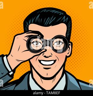 Businessman looking through binoculars. Business retro style pop art - Stock Image