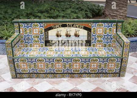 Old Three Steamers Safety Matches advertising slogan on ceramic tiled bench in the  Plaza de Los Patos in Santa Cruz de Tenerife, Tenerife. - Stock Image