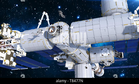 Astronauts working on space station, cosmonauts floating outside of spacecraft airlock, 3D rendering - Stock Image