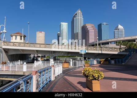 Riverwalk in front of Tampa skyline, Florida, USA - Stock Image