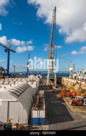 Gibraltar rock. Dry dock, dry dock with cranes, British overseas territory of Gibraltar. Europe. - Stock Image