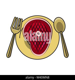 Tasty barbecue grilled food cartoon - Stock Image