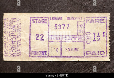 Old 1950's London Bus Ticket - Stock Image