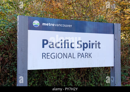 Pacific Spirit Regional Park sign in Vancouver, BC, Canada - Stock Image