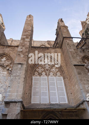 Lala Mustafa Pasha Mosque, originally named Cathedral of Saint Nicholas in Famagusta Cyprus, an impressive medieval building - Stock Image