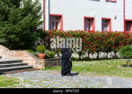 LITOCHORO, GREECE - APRIL 12, 2015: A monk in Monastery of Saint Dionysius of Mount Olympus, Litochoro, Greece. - Stock Image