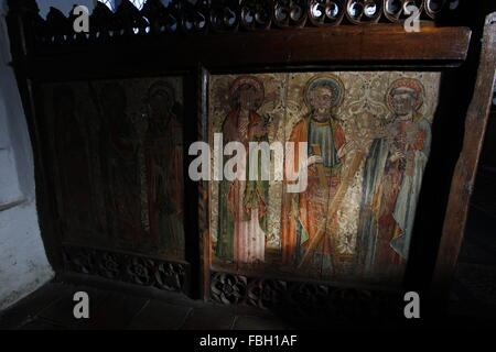 Saints painted on Rood Screen, St Michael's Church, Irstead, Norfolk - Stock Image