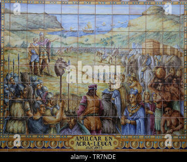 The Carthaginian general Hamilcar Barca (275-228 BC)founded Akra Keuka (Alicante). Ceramics tiles. Spain Square. Seville, Spain. - Stock Image