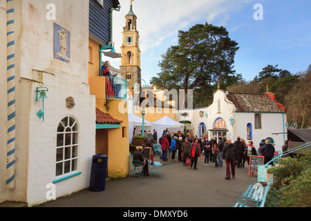 Visitors to Christmas Food and Craft Fair in Italian style tourists' village of Portmeirion, Gwynedd, North Wales, UK, Britain - Stock Image