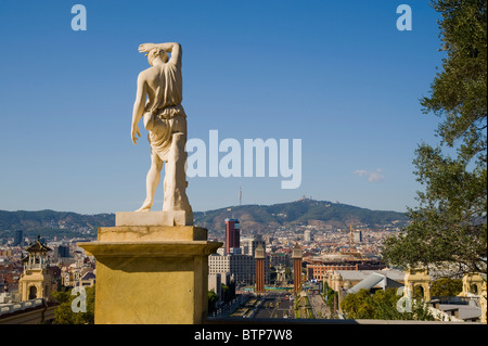 View from Montjuic Hill towards Placa d'Espana, Barcelona, Spain - Stock Image