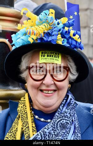 23rd March, 2019. Protester with a sticker on her forehead. People's Vote March, Whitehall, London.UK Credit: michael melia/Alamy Live News - Stock Image