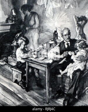 Illustration showing the poverty endured by an unemployed man and his family, England 1920 - Stock Image