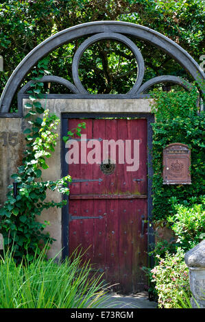 Old door and mailbox, - Stock Image
