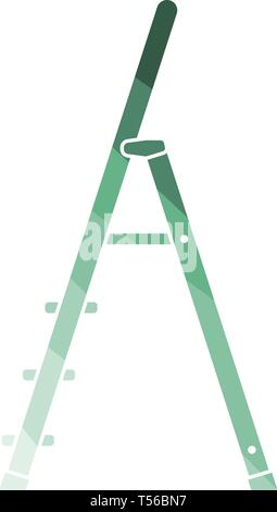 Construction ladder icon. Flat color design. Vector illustration. - Stock Image