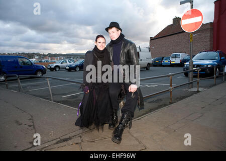 Couple at Whitby Goth Weekender - Stock Image
