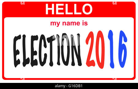 red sticker hello my name is election 2016 concept - Stock Image