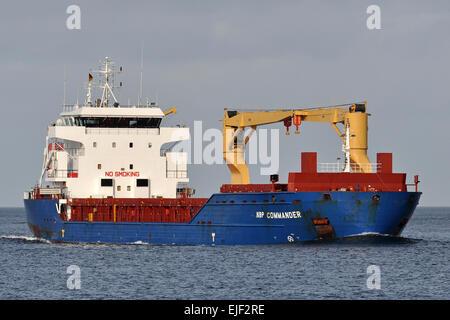 General cargo vessel NBP Commander passing Kiel-Fridrichsort - Stock Image