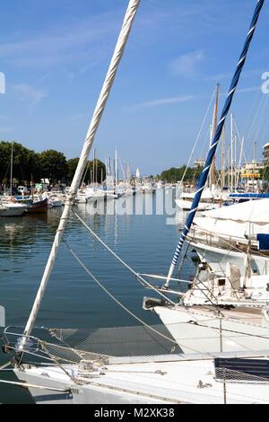 Yachts and boats on the river Marecchia,  Rimini, Emilia-Romagna, Italy - Stock Image