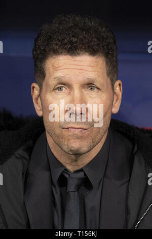 Diego Simeone during the Atletico Madrid and Juventus match as part of the 16th round of UEFA Champions League at Wanda Metropolitano Stadium in Madrid  Featuring: Diego Simeone Where: Madrid, Spain When: 20 Feb 2019 Credit: Oscar Gonzalez/WENN.com - Stock Image