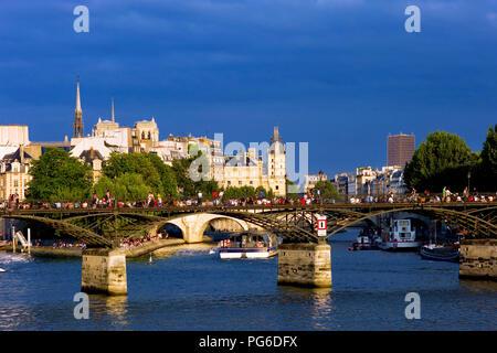 Pont des Arts and Seine river in Paris France - Stock Image