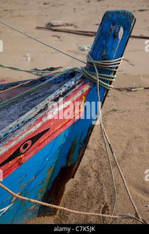 Portugal, Algarve, Ferragudo, Colourful Boat - Stock Image