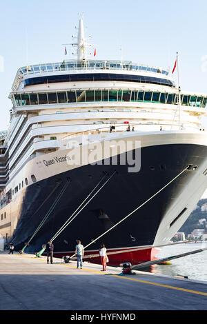 Queen Victoria docked in Dubrovnik - Stock Image