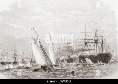 The International Naval Festival at Portsmouth, 1865 - the French fleet leaving Spithead.  From The Illustrated London News, published 1865. - Stock Image
