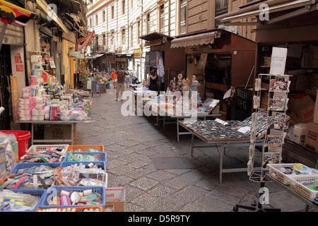 La Vucciria street market in Palermo Sicily Italy - Stock Image