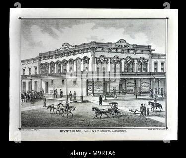 Sacramento County California - 1880 - Thompson & West Print - The Pavilion and Parson & Kilgour Dry Goods Store on Bryte's Block in Downtown Historic Sacramento - Stock Image
