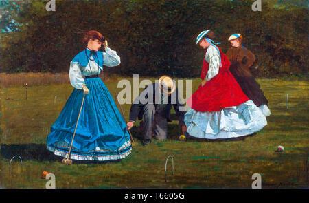 Winslow Homer, Croquet Scene, painting, 1866 - Stock Image