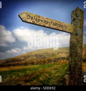 Sign marking the route of the Dalesway Footpath in the Yorkshire Dales, UK - Stock Image
