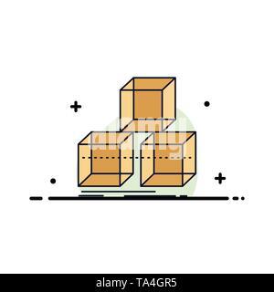 Arrange, design, stack, 3d, box Flat Color Icon Vector - Stock Image