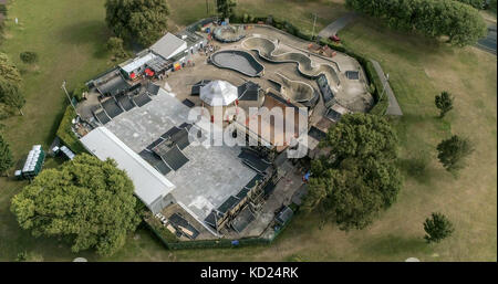 Aerial view of a skate park in southern England - Stock Image