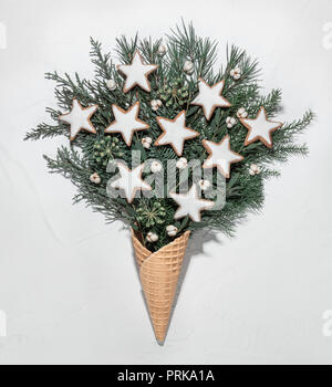 Wafer cone, cookie and fir branch mockup - Stock Image