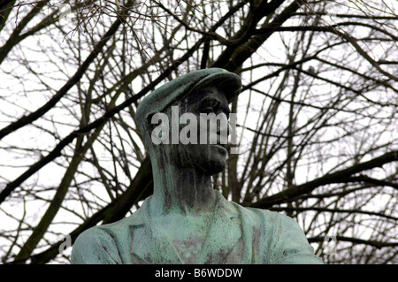 statue worker Berlin Deutschland Germany East German Alexanderplatz sculpture travel tourism rotes rathaus red town - Stock Image