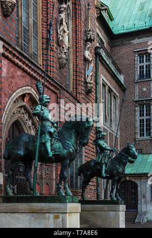 Heralds, equestrian statues outside the town hall, Bremen, Germany - Stock Image