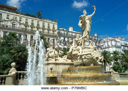The Fountain of the Federation in the Place de la Liberté, in Toulon, in the Var department, Provence-Alpes-Côte d'Azur region, southern France. - Stock Image