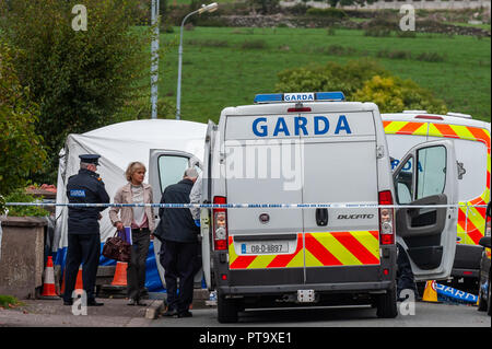 Macroom, West Cork, Ireland. 8th Oct, 2018. Assistant State Pathologist, Dr. Margaret Bolster, prepares to examine the body of the murder victim who has been named locally as 44 year old Timmy Foley. Credit: Andy Gibson/Alamy Live News. - Stock Image