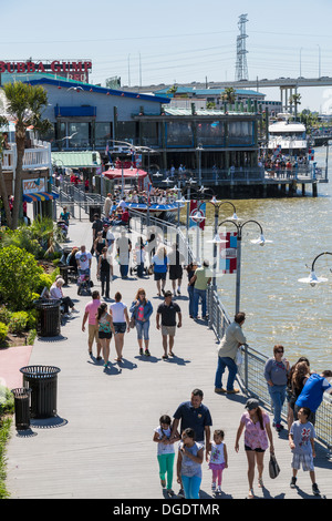 Tourists outside at Kemah boardwalk amusement park - Stock Image
