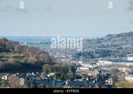 Landscape view of historic Bath from its skyline looking out towards Bristol in the far distance both cities told - Stock Image