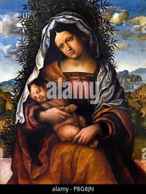 Madonna with the child, called Madonna of the jasmine, 1510, Nicola Giolfino (1476-1555), tempera on canvas  Italy, Italian. - Stock Image