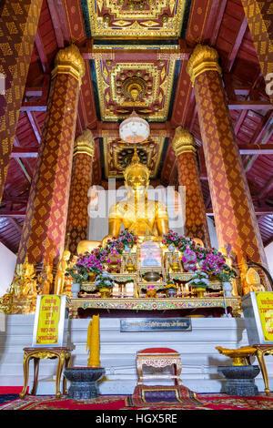 AYUTTHAYA, THAILAND - OCT. 17, 2014: Phra Phuttha Nimit, Beautiful buddha statue in chapel at Wat Na Phra Men temple, - Stock Image