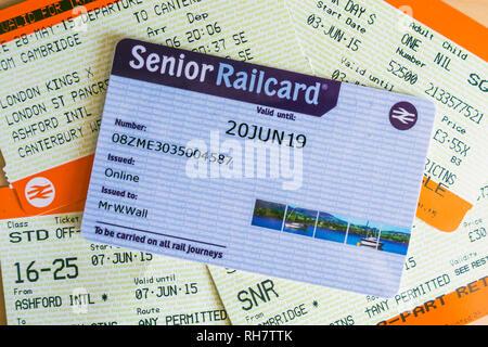 Senior Rail Card Railcard Train Tickets Rail Travel Expiry 2019 - Stock Image
