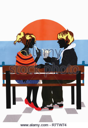 Collage of teenage couple sitting on bench eating chips at sunset - Stock Image